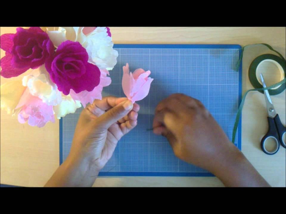technique de la tige pour les fleurs en papier cr pon youtube. Black Bedroom Furniture Sets. Home Design Ideas