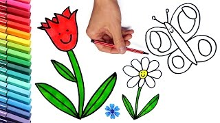 How to Draw Flowers and Butterfly Coloring Page for Children - Learning Colors With Markers