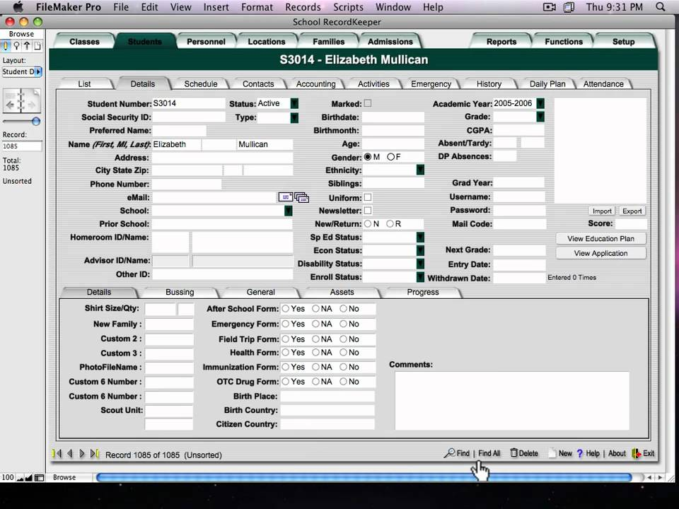 School Recordkeeper Database Software Overview Youtube