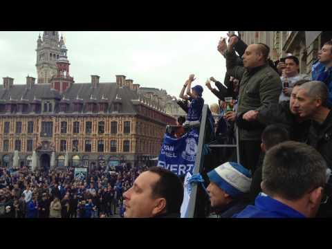 Everton fans in Lille Square | Romelu Lukaku chant