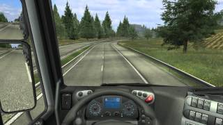 German truck simulator Iveco Stralis heavy load drive wiith manual shifting