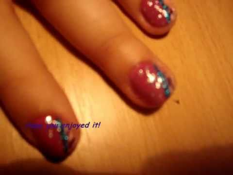 Girly Retro Sparkly Nail Art Tutorial For Short Nails (level 2)