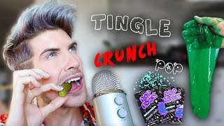 I Tried ASMR... Eating Crunchy Foods, Pop Rocks, Playing With Slime