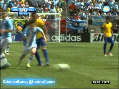Argentina 4 Brasil 3 (Radio Brasilera)  Amistoso Internacional 2012 Los goles (9/6/2012)