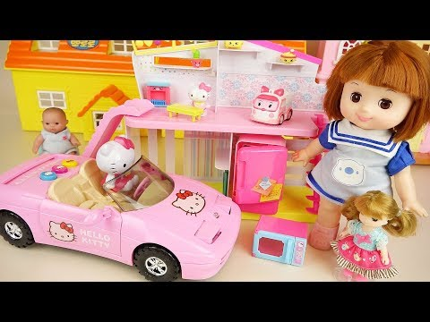 Baby doll slide house and Hello kitty car toys play