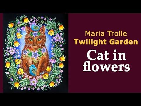 Colouring 'Twilight Garden' / Blomstermandala / Раскраска-антистресс Сумеречный сад