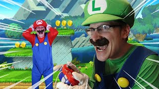 Luigi Controls Mario IN REAL LIFE - Super Mario Bros level