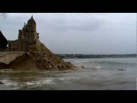 JERSEY CHANNEL ISLANDS highest tide demolishes largest sand castle in Britain