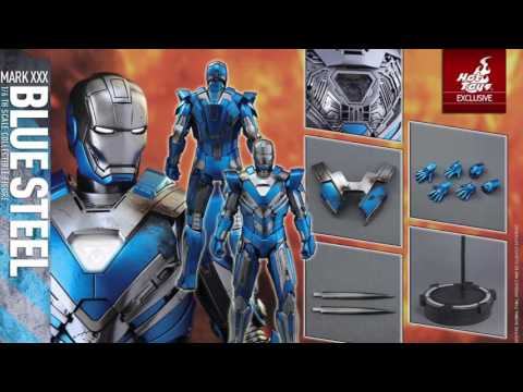Iron Man 3 Hot Toys Mark XXX Blue Steel 1/6 Scale Figure Exclusive Reveal!