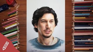 Drawing ADAM DRIVER / Kylo Ren Without Mask - REALISTIC PORTRAIT With COLORED PENCILS | Time Lapse