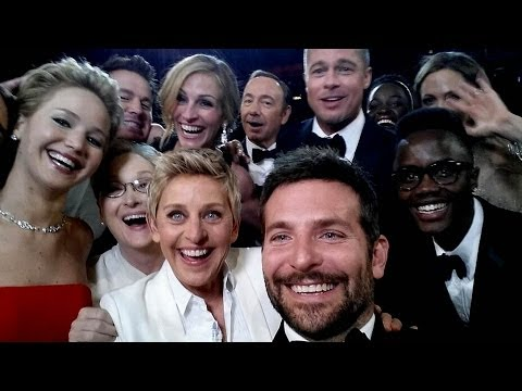 Ellen's Epic Selfie with Jennifer Lawrence, Julia, Brad, Meryl & More Oscars 2014