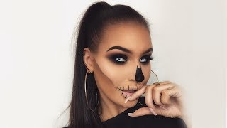 Easy Simple Last Minute Skull | Men Women Halloween Makeup Tutorial