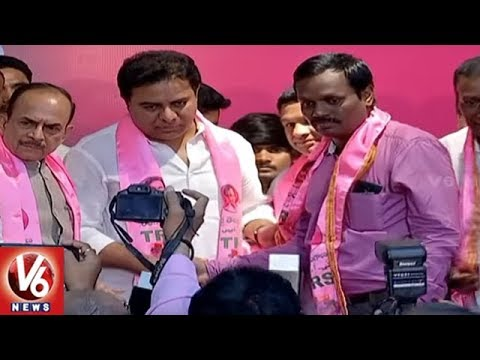 Election Fever Prevails At TRS Bhavan As Other Parties' Leaders Join Ruling Party | V6 News