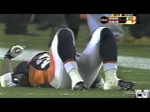 Bill Romanowski takes out Clinton Portis, Raiders vs. Broncos, Disclaimer: I DO NOT OWN THIS FOOTAGE. ALL MEDIA IS PROPERTY OF ITS RESPECTIVE OWNERS.