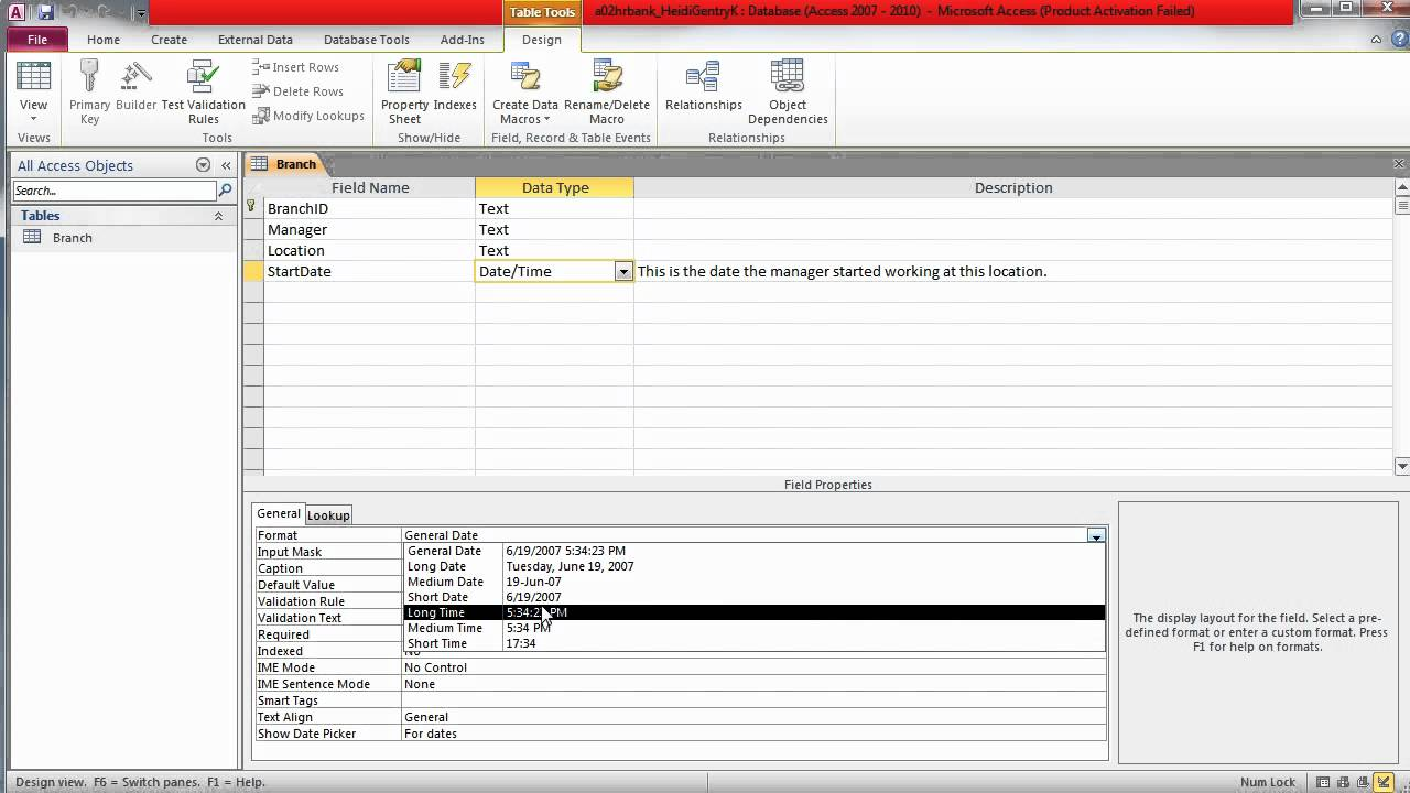 Microsoft access switching between datasheet and design for Table design view in access 2010