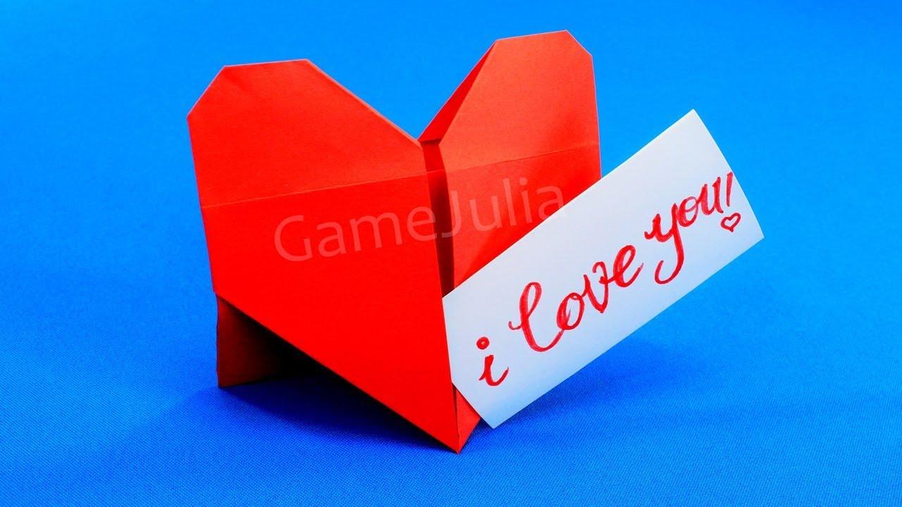 Как сделать из бумаги оригами валентинку