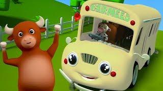 các bánh xe trên xe buýt | bài hát xe buýt cho trẻ em | vần điệu cho trẻ sơ sinh | Wheels On The Bus