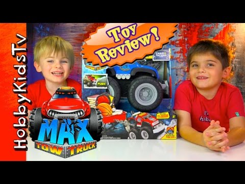 Max Tow Truck Imaginext Toy: MOVES CHAIRS! Ben Chair Drag By HobbyKidsTV