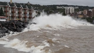 9/10/2014 Duluth, MN Lake Superior Gale Warning Huge Waves - B-Roll