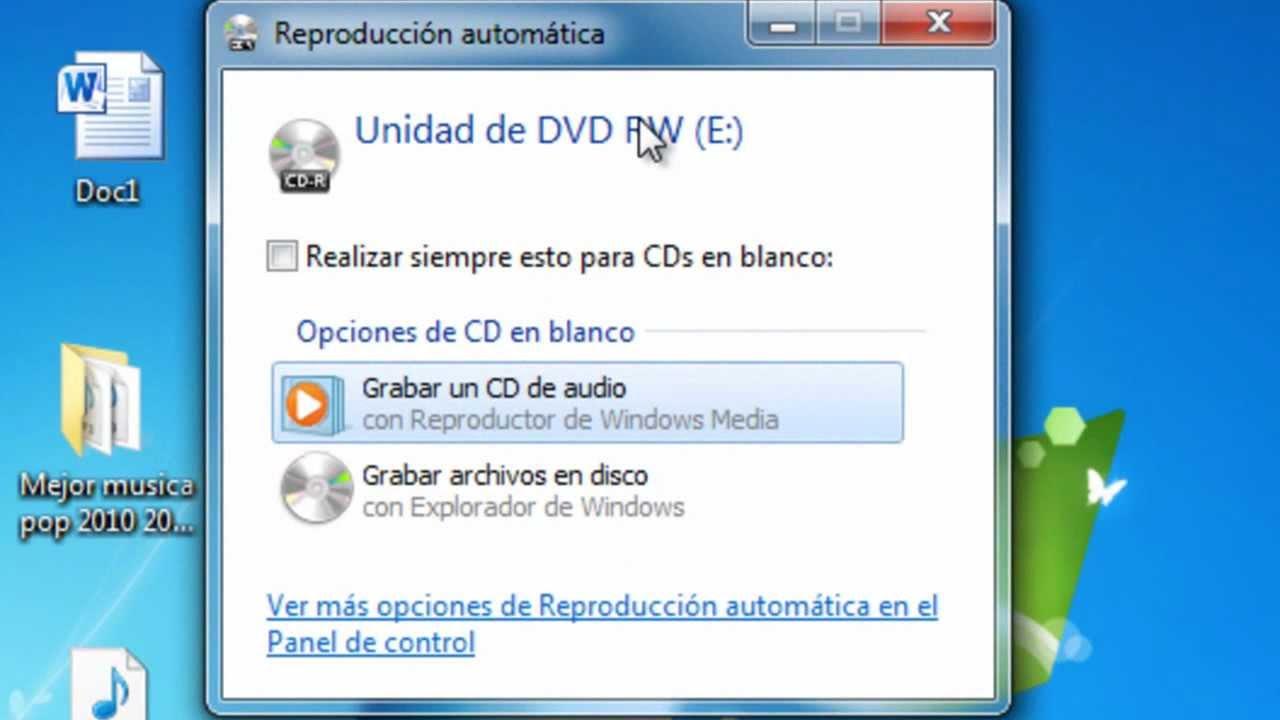 grabar musica a un cd: