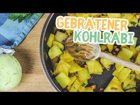 Gebratener Kohlrabi Low-Carb (Falsche Bratkartoffeln) - Essen ohne Kohlenhydrate