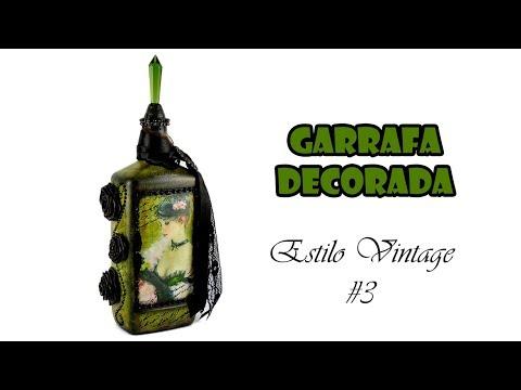 Garrafa Decorada Estilo Vintage #3 (ARTESANATO, DIY, RECICLAGEM)