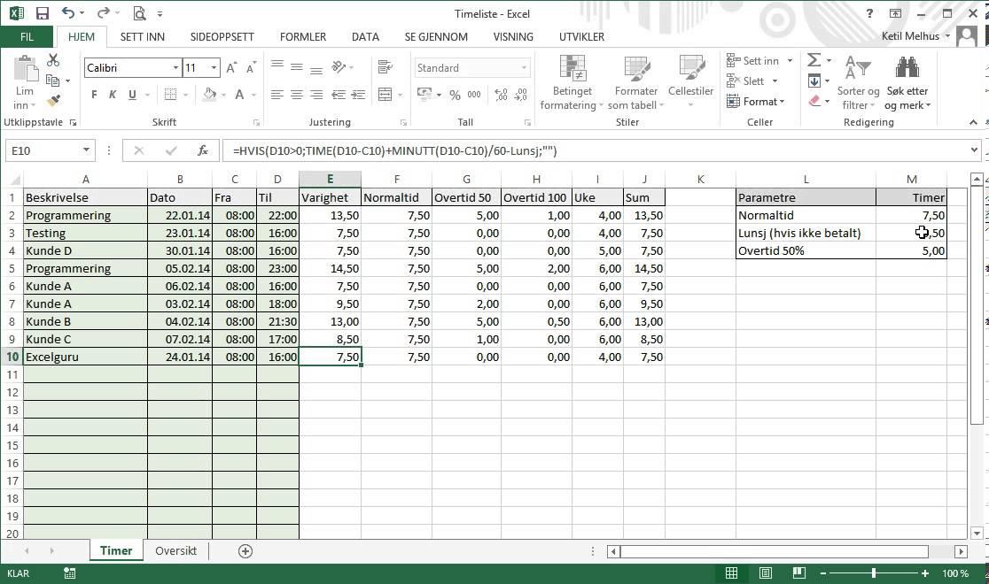 excel p u00e5 norsk  timeliste  timeregistrering i excel