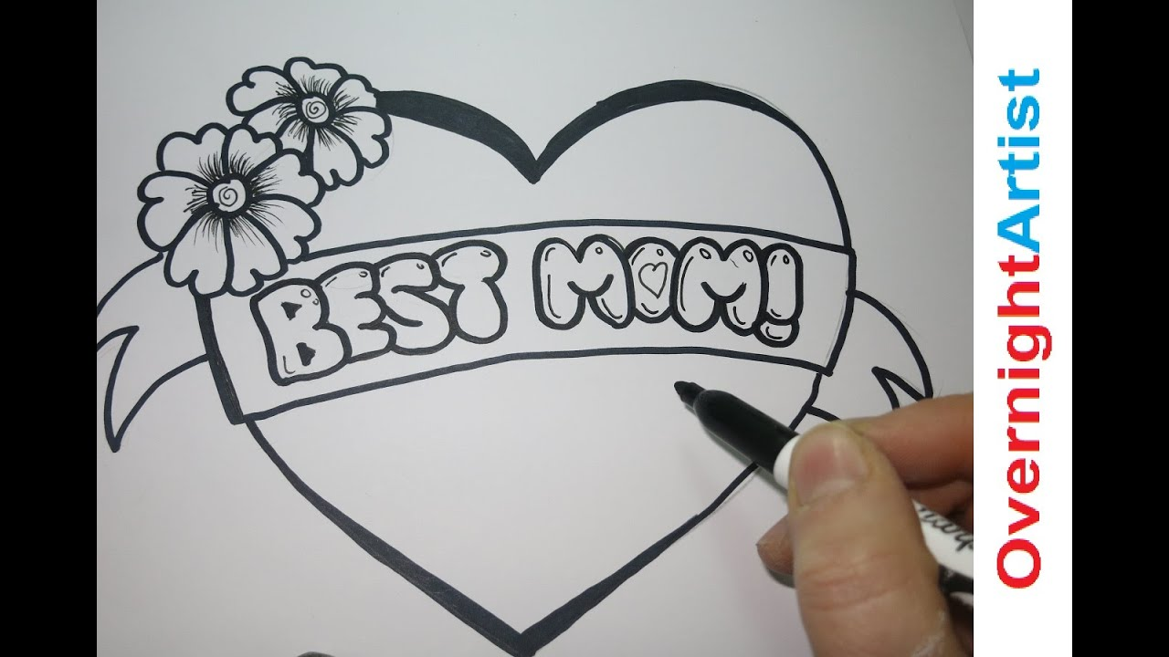 Mother Birthday Card Drawing Draw Best Mom How to Draw