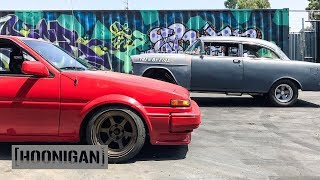 [HOONIGAN] DT 102: Toyota AE86 vs Tri-5 By Fire #SPACERACE