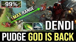 DENDI PUDGE GOD IS BACK! EPIC Pudge OMG Hook Max Range 99% WTF Dota 2