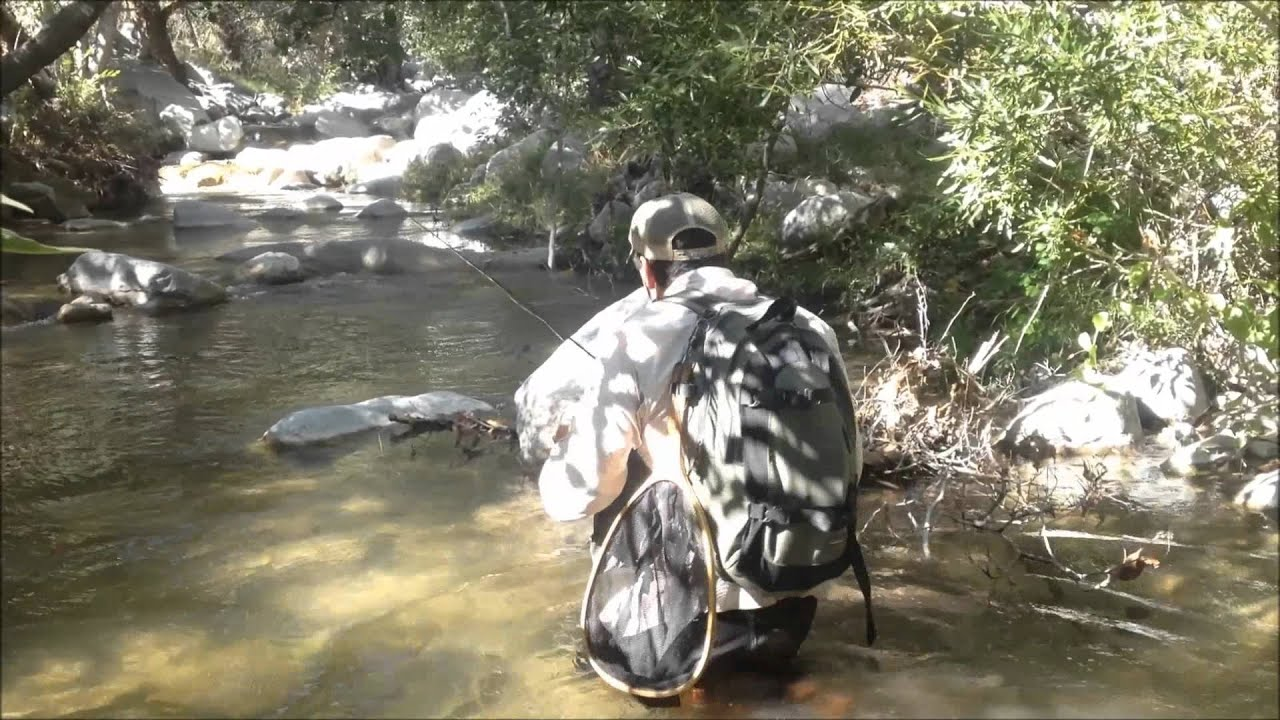 Sling shot casting instruction by southern california fly for Trout fishing southern california