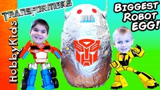 Giant ROBOT Surprise Egg with Transformers Toys by HobbyKidsTV