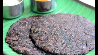 Ragi adai with drumstick leaves