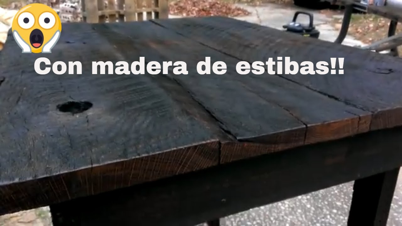 Mesa rustica de palets youtube for Construir mesa de madera rustica
