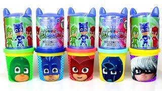 PJ Masks Play Doh Molds & PJ Masks Headquarter Surprise Toys Learn Colors for Kids