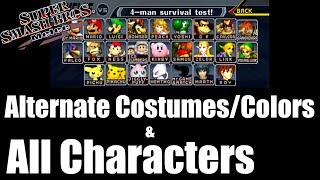 Super Smash Bros Melee - Alternate Costumes/Colors & All Characters