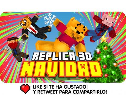 REPLICA EN 3D NAVIDEÑA! | Minecraft Blitz Build Christmas con Exo, Macundra, Sarinha y Luh