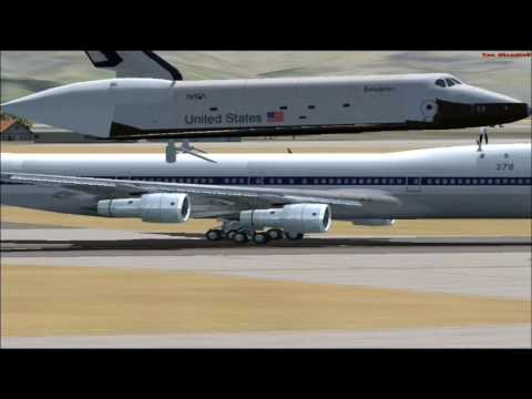 (HD) FSX - 747 NASA Space Shuttle Carrier Atlantis Aircraft  Presentation