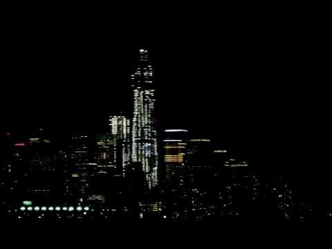 Nighttime Manhattan Skyline and World Trade Center Construction