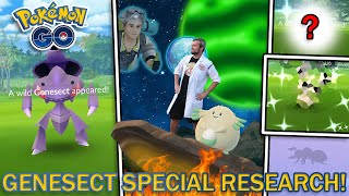 GENESECT SPECIAL RESEARCH EVENT! RARE SHINIES CAUGHT! (Pokemon GO)