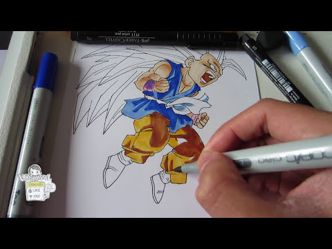 How to draw Kid Goku Super Saiyan 3 SSJ3 孫 悟空 超サイヤ人3