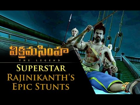 Superstar Rajinikanth's Epic Stunts - Vikramasimha - The Legend
