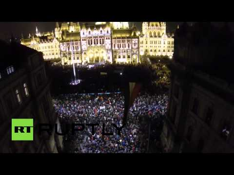 Drone Footage: Thousands protest govt corruption in Budapest