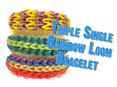 Triple Single - How to make Rubber Band Bracelets & Loom Bands