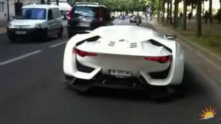 Justin Bieber and his car in the streets of France.