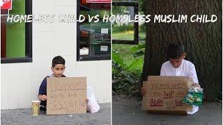 HOMELESS CHlLD VS HOMELESS MUSLlM CHlLD SOClAL EXPERlMENT (KID GOT ROBBED)