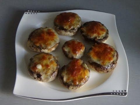 Шампиньоны фаршированные запеченные с сыром / Шампиньоны в духовке