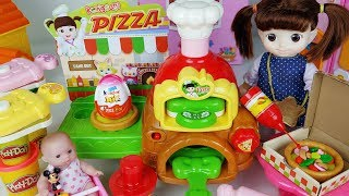 Baby doll and Play doh cooking and food shop cooking toys surprise eggs car play 콩순이 피자 가게 장난감 - 토이몽