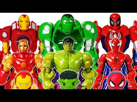 Avengers, Defeat Romeo With Mech Armors~! Hulk, Spider man, Iron man