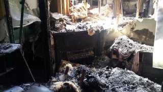 Exploring burned down house